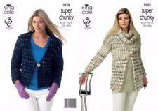 King Cole Knitting Pattern 3578 Ladies Slip Stitch Jackets Snood Super Chunky