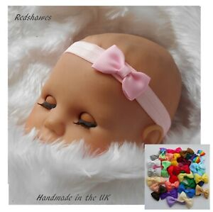 Bow Baby Headband soft elastic (4cm Bow)- Xmas Outift Christening Newborn - 2yrs