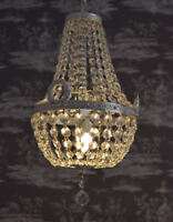 Deckenlüster Kronleuchter Leuchte Glaskristalle Messing Maria Theresia Antikstil