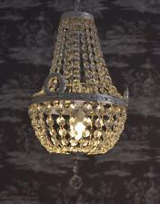 Kristalllüster Deckenleuchte Antik Kronleuchter Lüster Messing versilbert Lampe