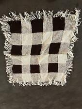Hand Knit Crocheted Lap Afghan Quilt Blanket Throw Brown and White