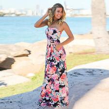 Damen Ladies Maxikleid Sommerkleid Strandkleid Bandeau Boho trägerloses kleid