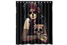 Tattoo Sugar Skull Girl Shower Curtain Rockabilly Pinup Punk Day Of The Dead