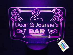 Personalised LED Neon Cocktail Flamingo Bar Sign Night Light Eighties. 16 Colour