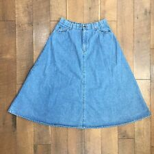 Vintage 90s HUNT CLUB A Line Blue Denim Skirt Modest Womens Sz 16 / Waist 32""