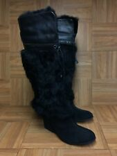 NICE🔥 COLE HAAN Branwen Black Fur Leather Women's Winter Boots Sz 7.5 B VNTG