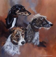 """Limited edition prints /""""Of Bedlingtons and Lurchers/"""" by the late Vic Granger"""