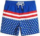 Maamgic Boys Swim Trunks size 5/6 NWT Patriotic Flag Royal Blue