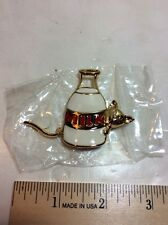 New Darling Enameled Kitty Cat Milk Bottle Pin Brooch Moving Moving Wagging Tail