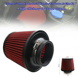 "Universal 3"" 76mm Car Truck SUV High Flow Cold Round Cone Intake Air Filter Set"