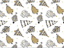 Gold Trees Christmas Gift Wrap Tissue Paper 10 Sheets