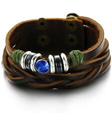 Mens Blue Crystal Brown Genuine Leather String Wristband Bracelet Brozen Surfer