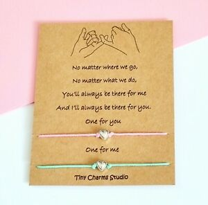 Set Of 2 Pinky Promise Best Friend Friendship Heart Wish Bracelet Couples Gift