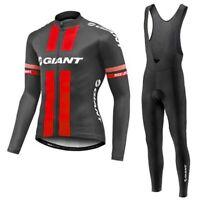 YQ481 New Cycling Winter Thermal Fleece long sleeve jersey Padded Bib Pants Kit