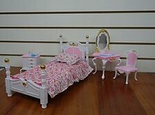 Barbie Size Dollhouse Furniture Bed Room & Beauty Play Set, New, Free Shipping