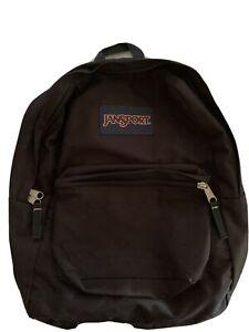 Vintage Jansport Backpack Black Canvas Nylon Padded Straps Outside Pocket