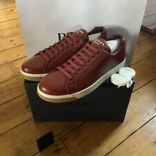 Prada Luxury Low Daino Rubino Leather Sneaker