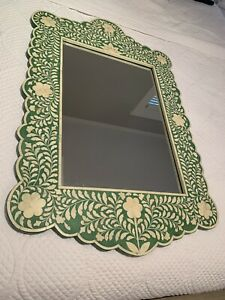 Anthropologie Horchow French Moroccan Bone Inlay Arch Wall Mirror Vanity Foyer