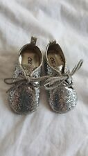Old Navy Silver Glitter tie Up booties 12-18 Months