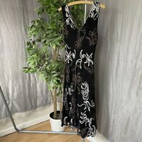 PHASE EIGHT Black Floral Multi Embroidered SIZE 12 UK Sleeveless Lined Dress
