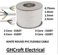 WHITE ROUND FLEX 3183Y CABLE 2 3 4 5 CORE 0.75MM 1.0MM 1.5MM 2.5MM - MULTIBUY
