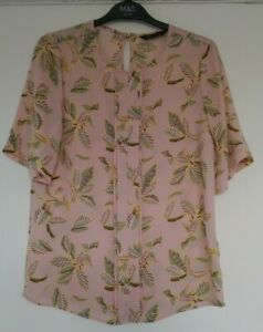 M&S SHORT SLEEVED Pink Mix Leaf BLOUSE TOP Size 6, 8, 10, 12, 14, 16, 20, 22