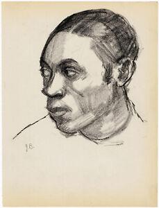 JULIUS BLOCH, 3 VINTAGE DRAWINGS - AFRICAN AMERICAN, signed conté crayon, 1930s