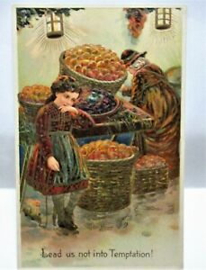 1910 POSTCARD LEAD US NOT INTO TEMPTATION - GIRL BY BASKETS OF APPLES AT MARKET