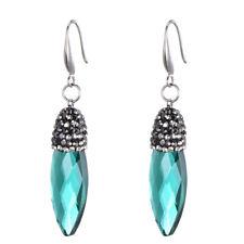 Long Silver Plated Emerald Green Crystal Pear Tear Water Drop Dangling Earrings