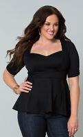 Kiyonna Women's Top Plus Sze 4X Black Ponte Peplum Style Sweetheart Neckline USA