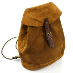RRL Double RL & Co Tan Roughout Suede Rucksack Cinch Backpack Leather Straps