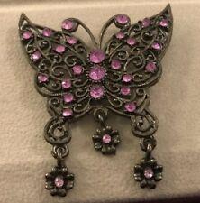 Black Marcasite Filigree  Butterfly Brooch Scattered Bright Purple Rhinestones