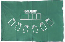 """Poker Texas Hold'em Table Top Layout 36""""x 23"""" Green Mat Pad Felt Portable Cover"""