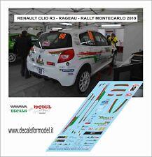 DECAL 1:43 RENAULT CLIO R3C RAGEU RALLY MONTECARLO 2019