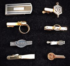 7 Vintage Advertising Tie Clips And Money Clip - Sentry,  Mirro, Stanley, Yale