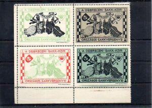 Hungary 1913 Chess 4-block MNH