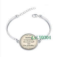 Nothing is Impossible  glass cabochon Tibet silver bangle bracelets wholesale