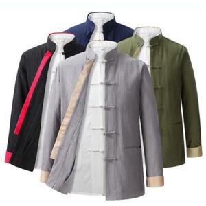 Mens Traditional Chinese Tang Suit Jacket Coat Martial Arts Kung Fu Uniform Hot