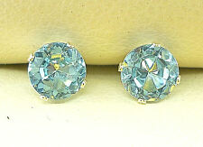 STERLING SILVER EARRINGS STUD ROUND 5mm AQUAMARINE LAB-CREATED STONE sk789