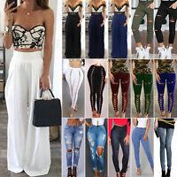 femme jeans skinny déchiré Pantalon taille haute fin crayon leggings