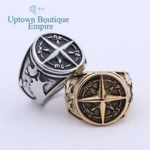 Nautical North Star Marine Compass Men Stainless Steel Ring Size:8-13#AAC