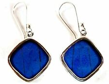Square Butterfly Wing Earrings Sterling Silver Deep Blue Drop Dangle Handmade