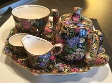 Rare Royal Winton Grimwades Chintz Crocus Breakfast Set Black Background