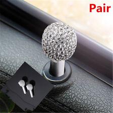 DIY Pair Silver Aluminum Alloy Door handle Interior Lock Knobs Pins Bling X2