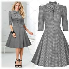 Womens Vintage Summer Elegant Bowknot Cocktail Party Casual Flared Swing Dresses