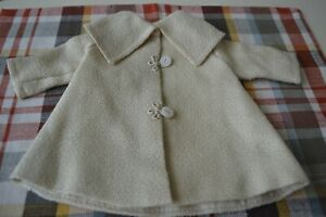"""EXCEPTIONAL VINTAGE CREAM SILK BOUCLE COAT/JACKET FOR 18-19"""" DOLL FULLY LINED"""