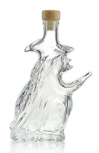 WITCH 8 Inch Tall Glass Shaped Bottle Halloween Witchcraft Spells 200ml Potions