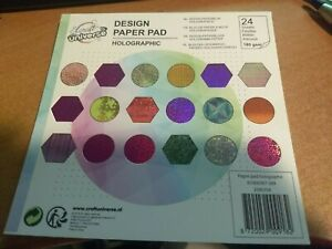 DESIGN PAPER PAD HOLOGRAPHIC /1SIDE/15X15 CM NEW/24 SHEETS (E)