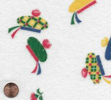 Vintage Novelty Colorful Berets Flannel Fabric