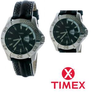 Timex T2J081 Watch Mens Black Leather Strap Perpetual Calendar Indiglo
